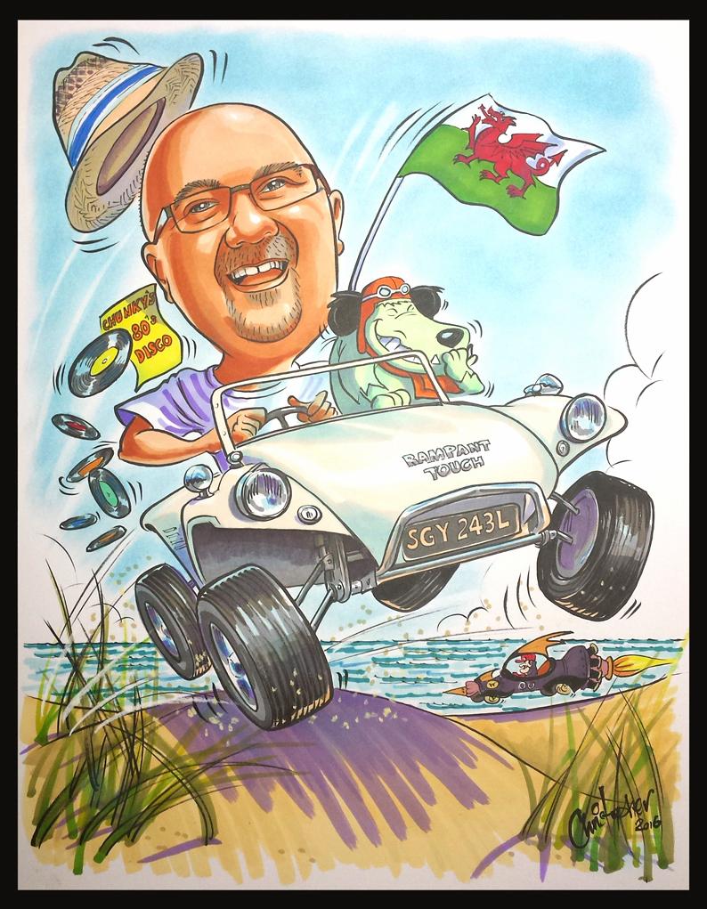 Man in beach buggy