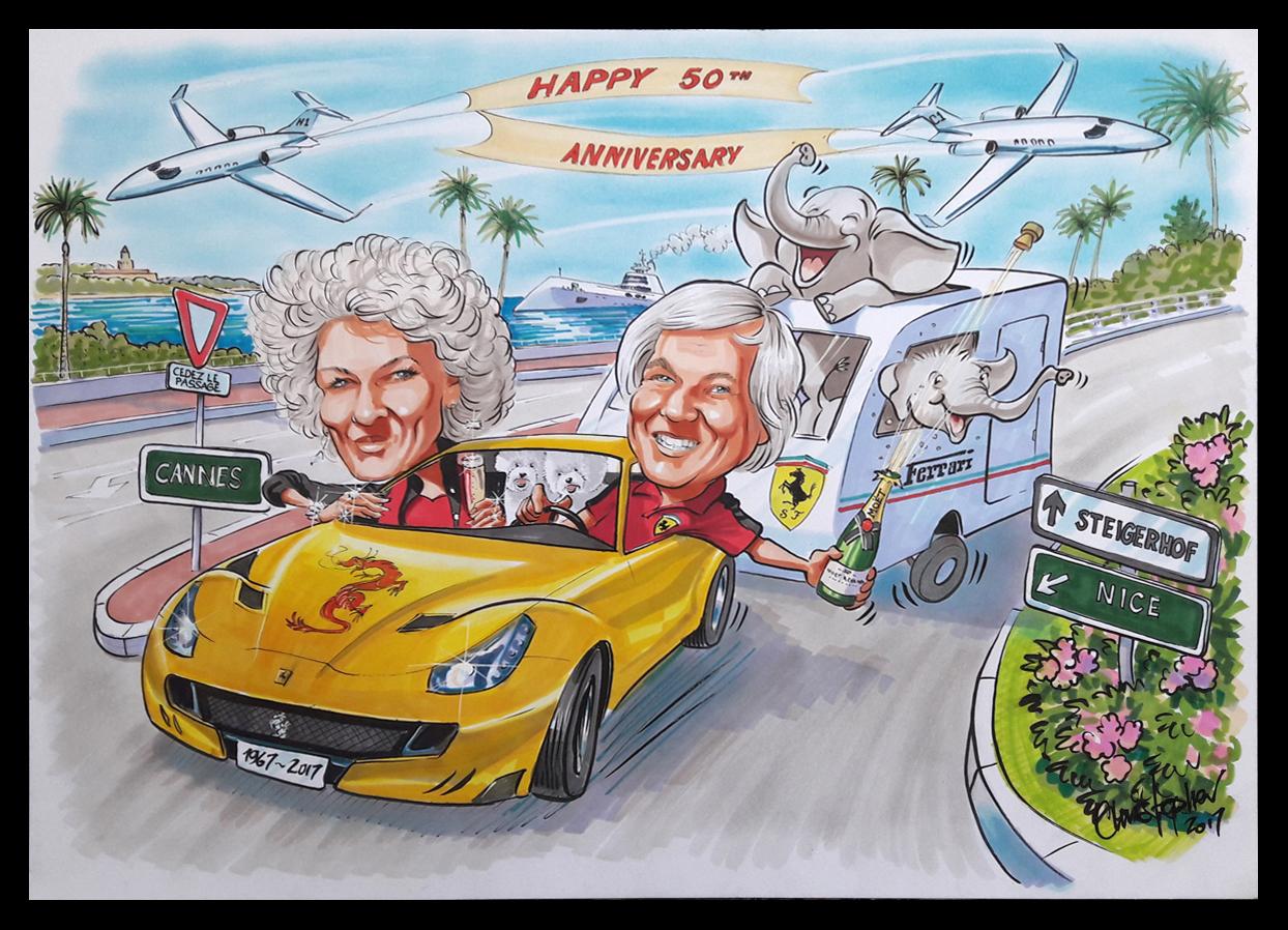 Ferrari pulling caravan