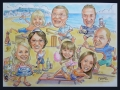 Colour caricature - beach family
