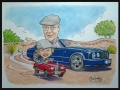 Grandad and grandson in cars