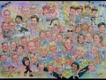 Family caricature with celebrities