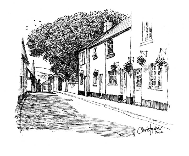illustration of Bovey Tracy house - pen & ink