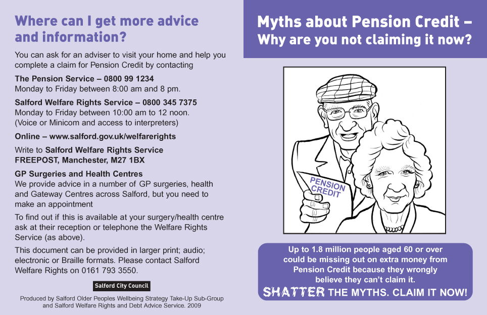 Myths About Pension Credit leaflet