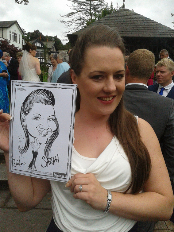 Caricature drawn at Castle Green Hotel, Kendal - August 2013