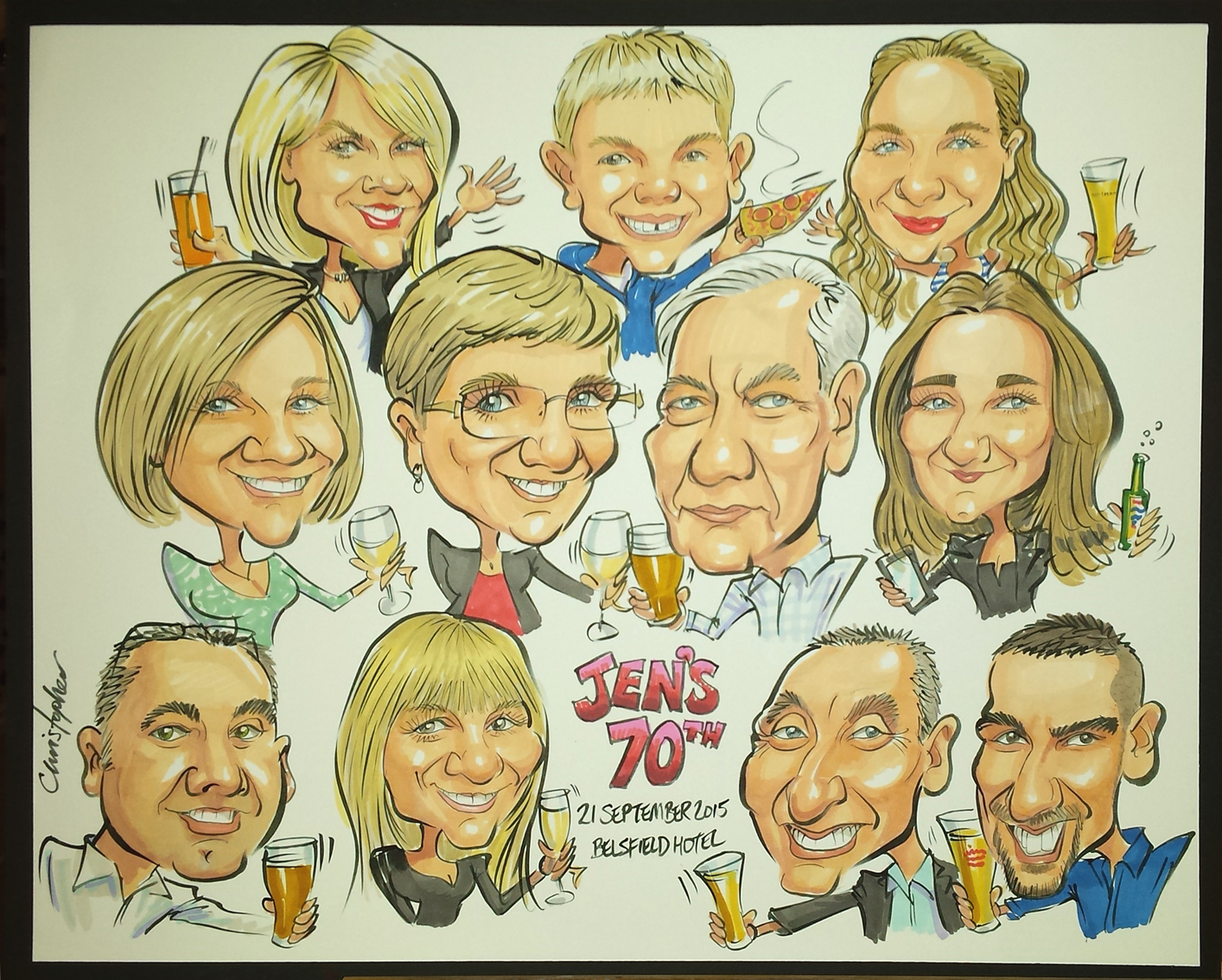 A colour caricature drawn live at the party