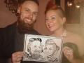 Caricature drawn at the Dryfesdale Hotel, Lockerbie