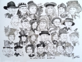 Group caricature drawn live at Mad Hatters Tea Party 2014