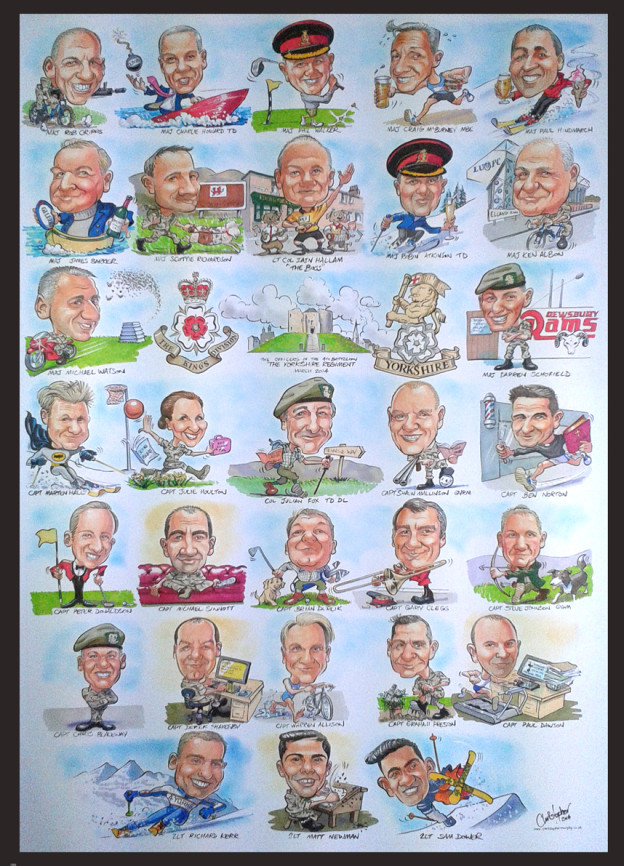 Large group caricature of army officers
