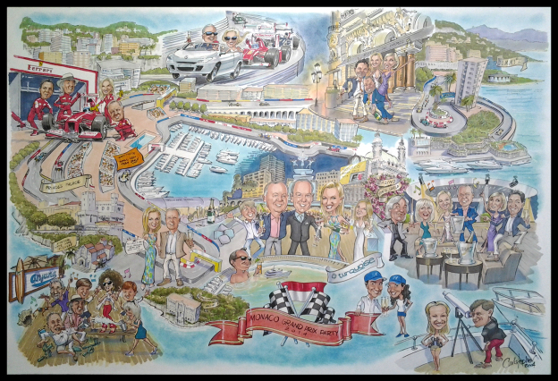 Very large group caricature of a party at the Monaco Grand Prix