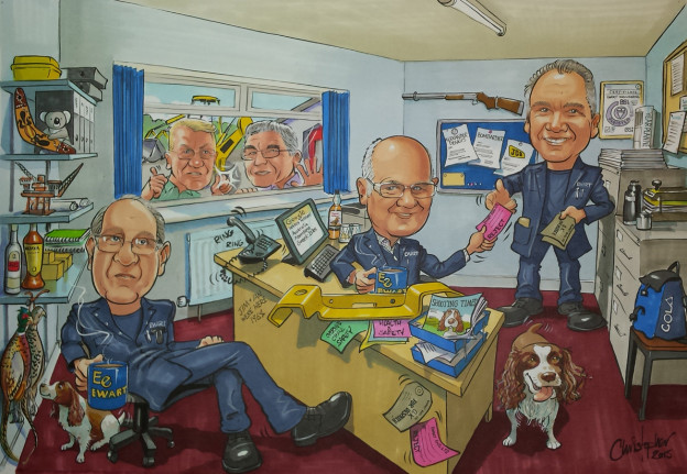 Group caricature for retirement present