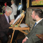 Chris drawing at a wedding at the Golden Ball Snatchems, Lancaster