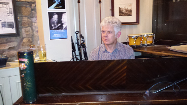 Chris playing piano with Jazz Offline at the Robert Gillow, Lancaster