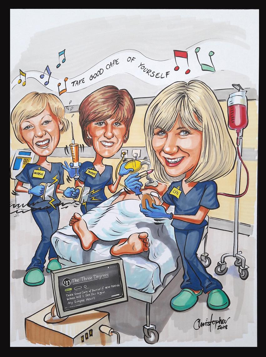 Caricature of three nurses