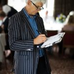 Chris drawing at a wedding