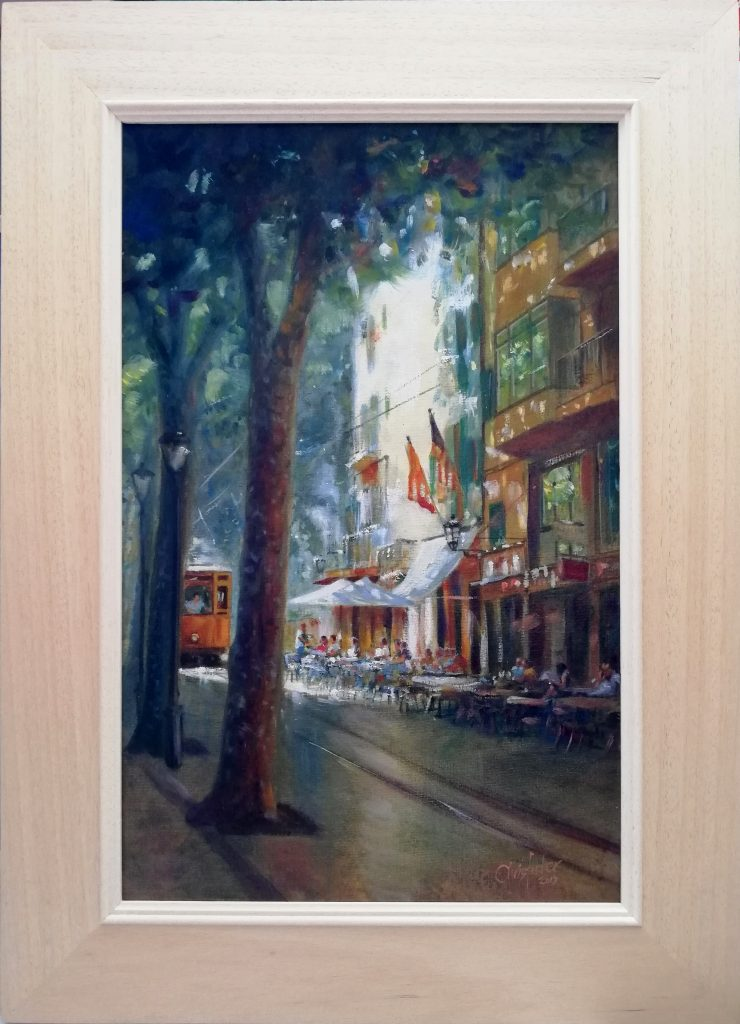 Oil painting of cafe scene in Sollér, Mallorca